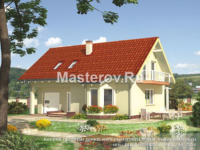 Проект дома из газобетона с гаражом A-255-1P E-686