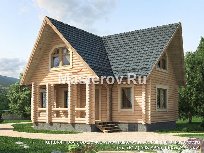 Проект бревенчатого деревянного дома № G-126-1D