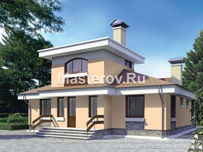 Одноэтажный дом с мансардой G-128-1P. Купить проект дома